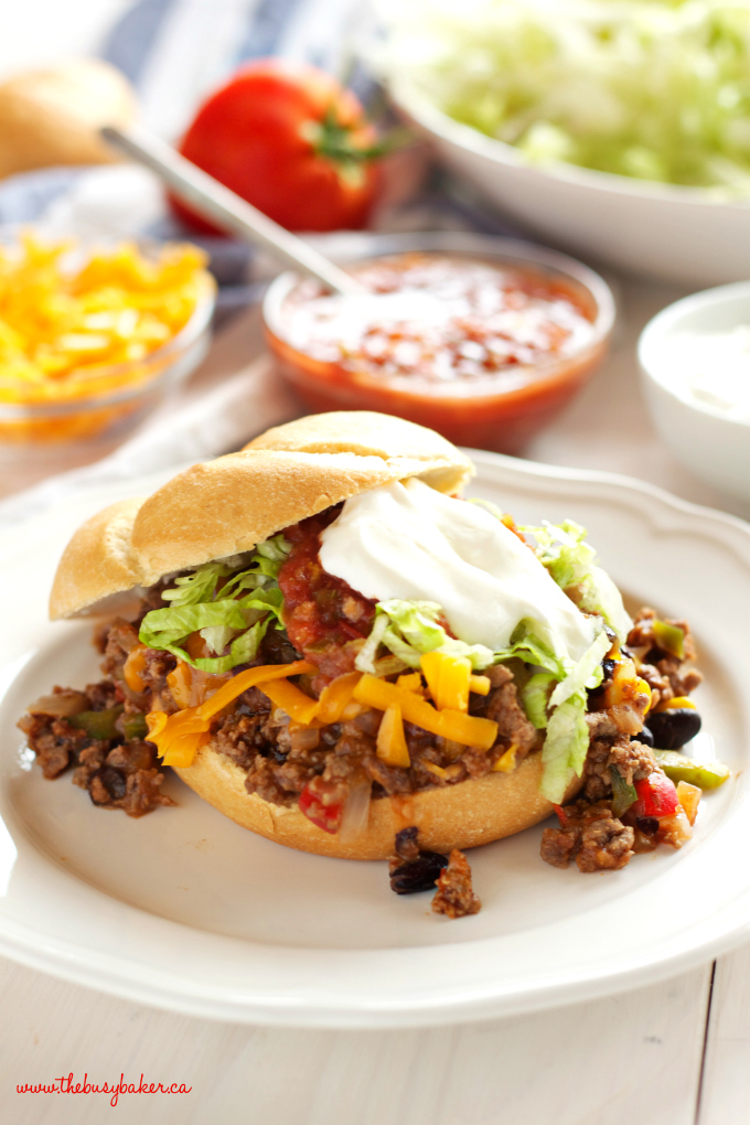 One Pan Mexican Style Sloppy Joes with salsa and lettuce