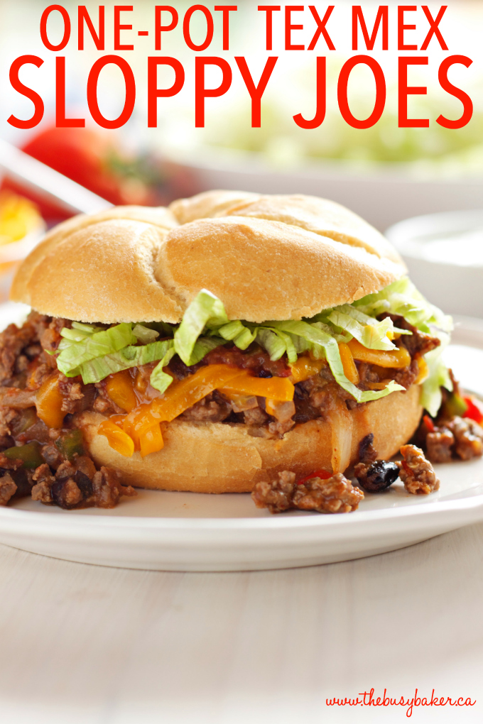 One Pot Mexican Style Sloppy Joes with text