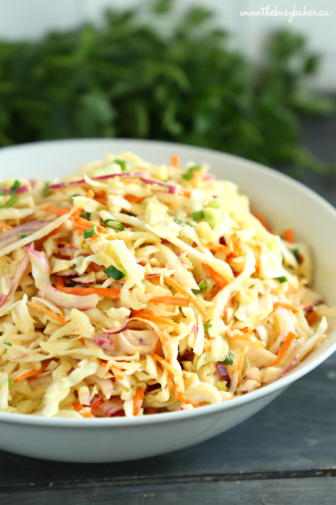 Best Ever Creamy Coleslaw in white bowl with herbs