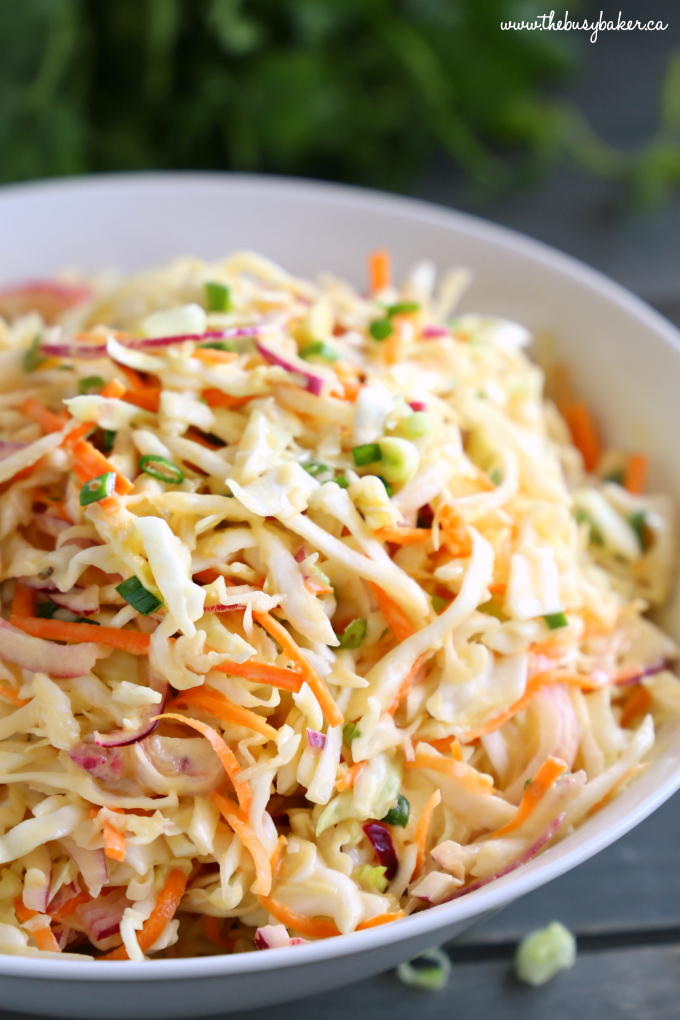 Best Ever Creamy Coleslaw in white bowl with green onions