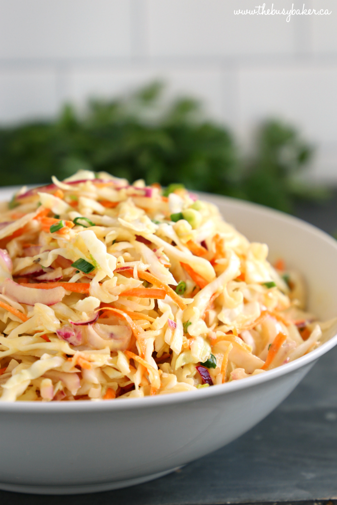 Best Ever Creamy Coleslaw in white bowl with carrots, onions and cabbage