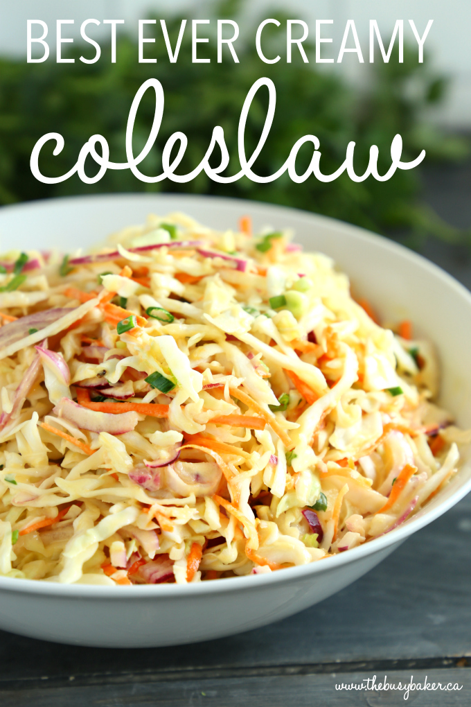 Best Ever Creamy Coleslaw with text