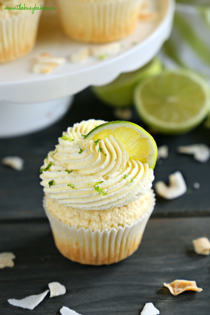 Dairy-Free Coconut Lime Cupcakes with toasted coconut and lime zest