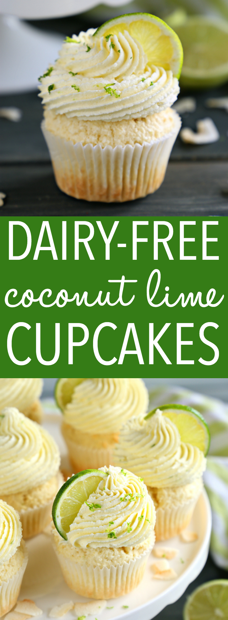 These Dairy-Free Coconut Lime Cupcakes are the perfect summer cupcake recipe with a delicious citrus flavour! Made with no dairy and real coconut! Recipe from thebusybaker.ca! #cupcakes #coconutcupcakes #coconutlimecupcakes #coconutdessert #easydessert #cake  #healthy