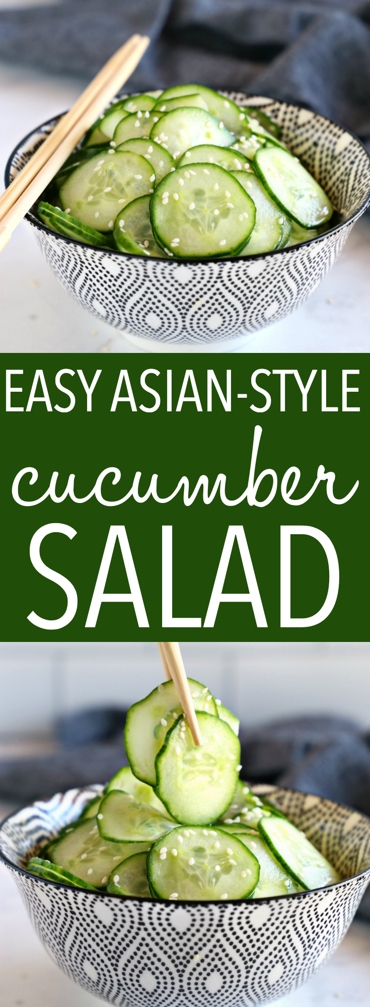 This Easy Asian Cucumber Salad is the easiest lunch idea that's so refreshing! Make it in minutes and store it in a mason jar for a quick and easy meal prep solution! Recipe from thebusybaker.ca! #easysalad #easycucumbersalad #healthycucumbersalad via @busybakerblog