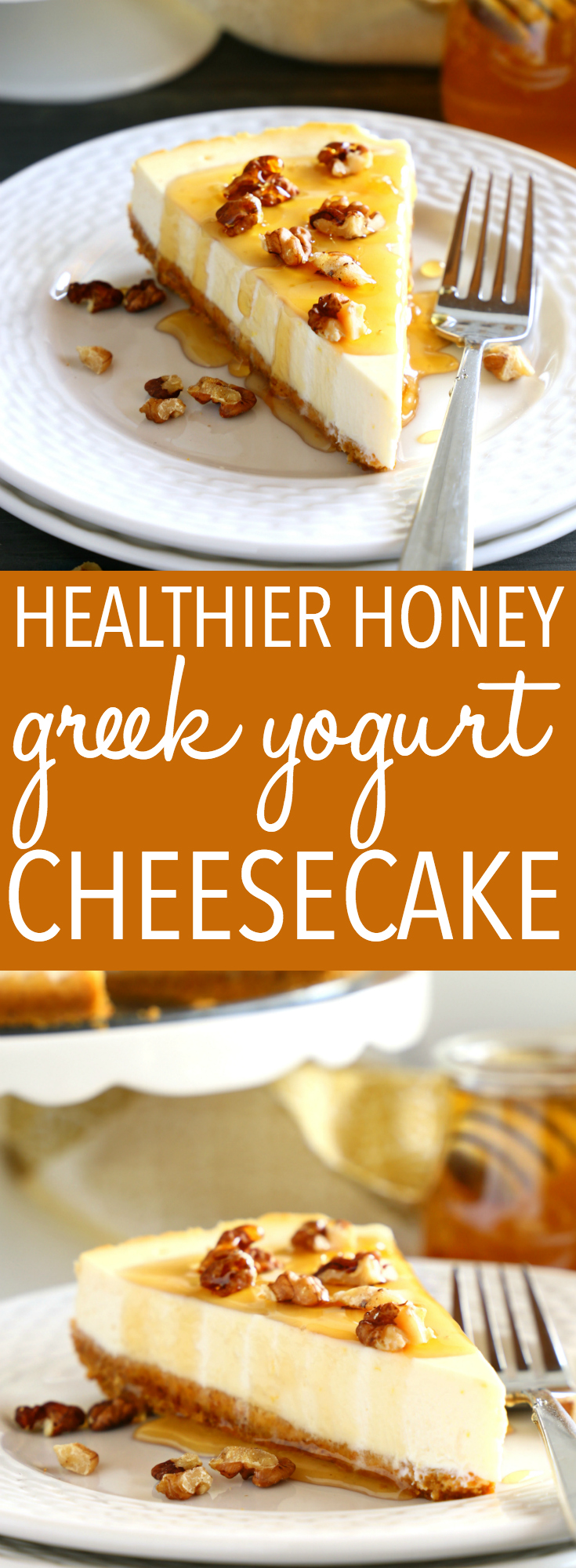 This Healthy Honey Greek Yogurt Cheesecake is the BEST healthy dessert for summer! It's made with low fat ingredients and no refined sugar, and it's under 200 calories per slice! Recipe from thebusybaker.ca! #healthycheesecake #honeyyogurtcheesecake #greekyogurtcheesecake