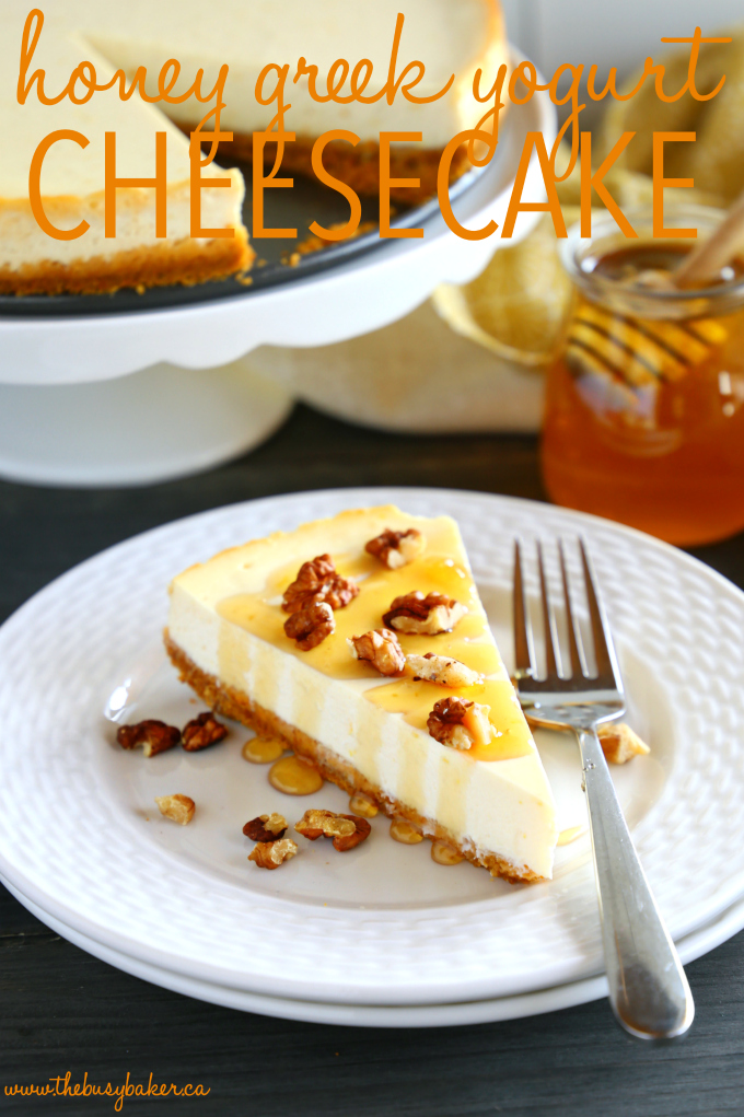 Healthy Honey Greek Yogurt Cheesecake with text