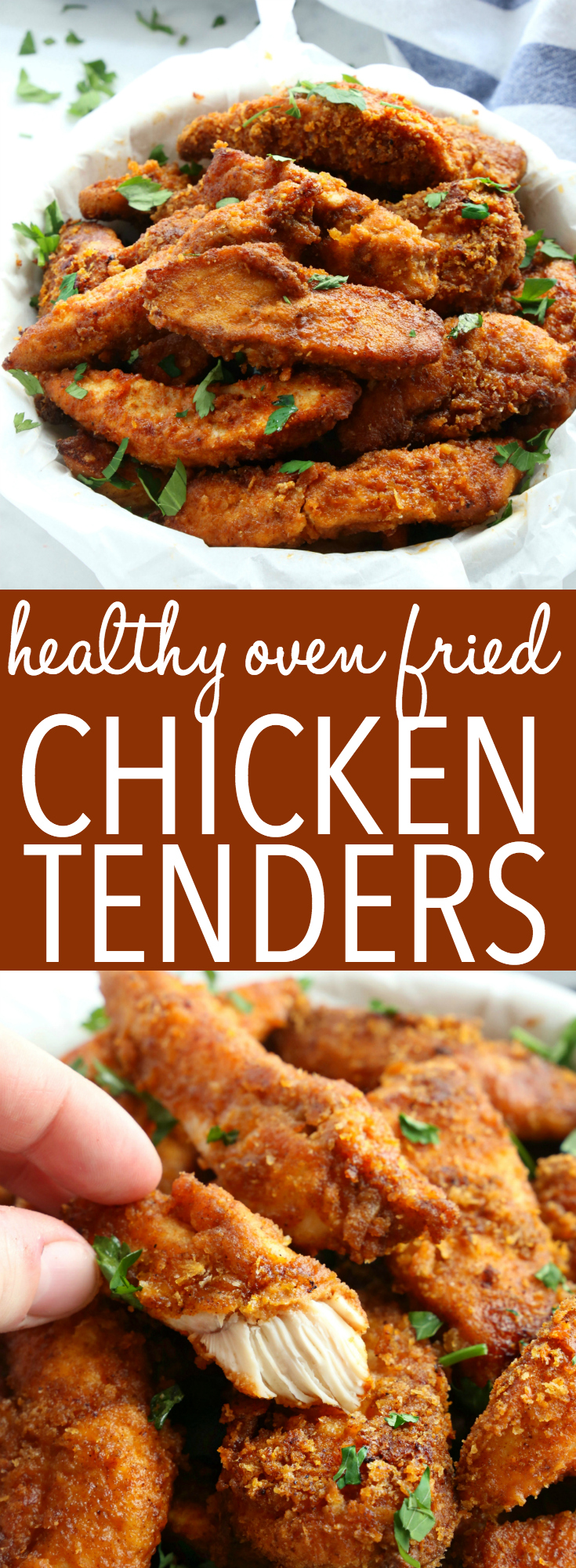 These Healthier Oven Fried Chicken Tenders are the perfect way to enjoy that fried chicken taste without all the fat! They're baked to perfection with a crispy crust and the perfect blend of herbs and spices!Recipe from thebusybaker.ca! #ovenbakedchickentenders #healthychickentenders #healthychickenfingers #ovenfriedchicken via @busybakerblog