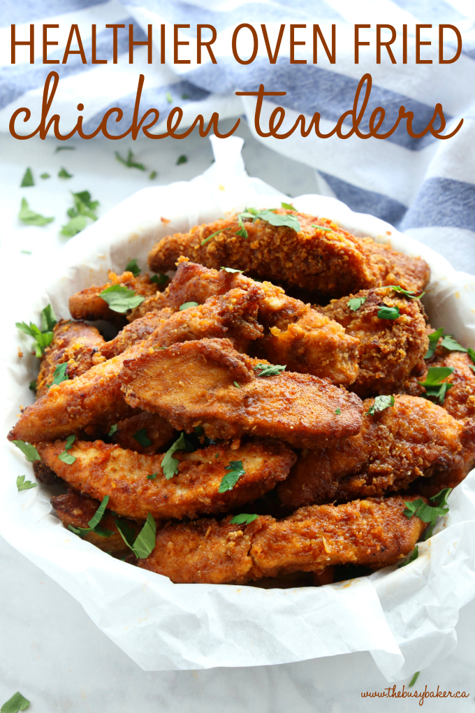 Healthier Oven Fried Chicken Tenders with text