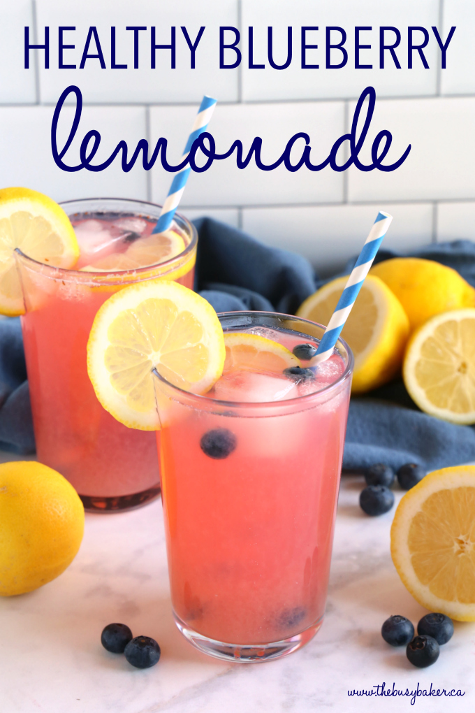 Healthy Blueberry Lemonade with text