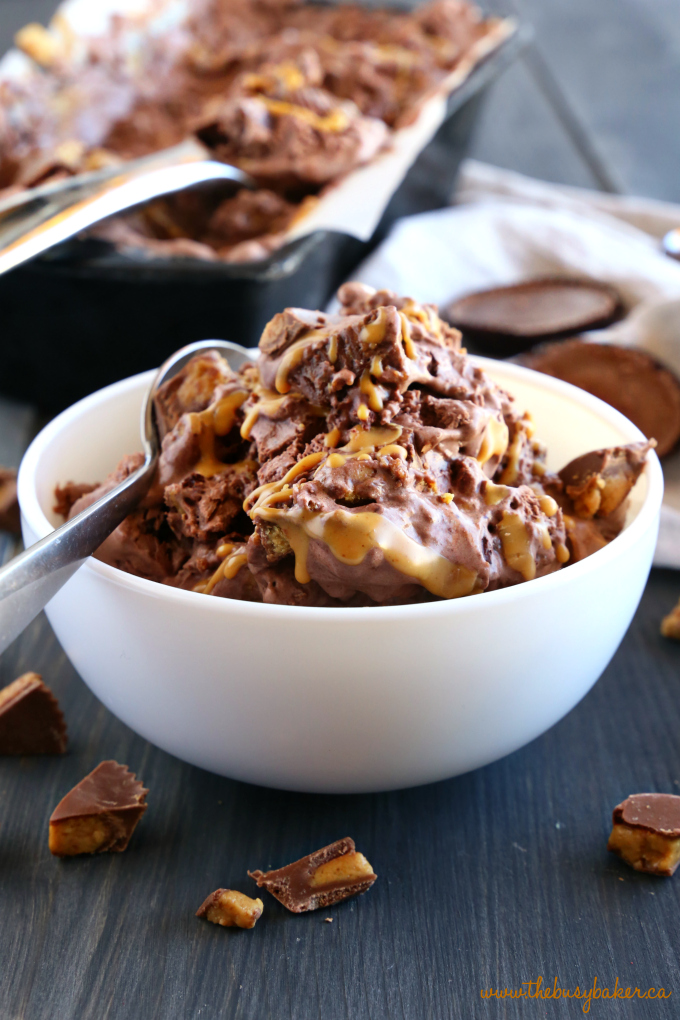 No Churn Chocolate Peanut Butter Cup Ice Cream in white bowl with spoon