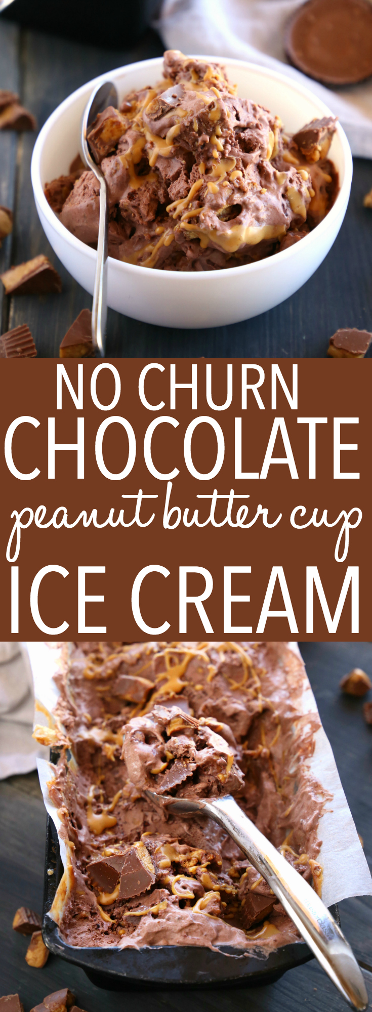 This No Churn Chocolate Peanut Butter Cup Ice Cream is the perfect cool treat for chocolate and peanut butter lovers! It's SO easy to make with only a few basic ingredients and it's the perfect ice cream for summer! Recipe from thebusybaker.ca! #chocolateicecream #peanutbuttericecream #nochurnicecream #homemadeicecream via @busybakerblog