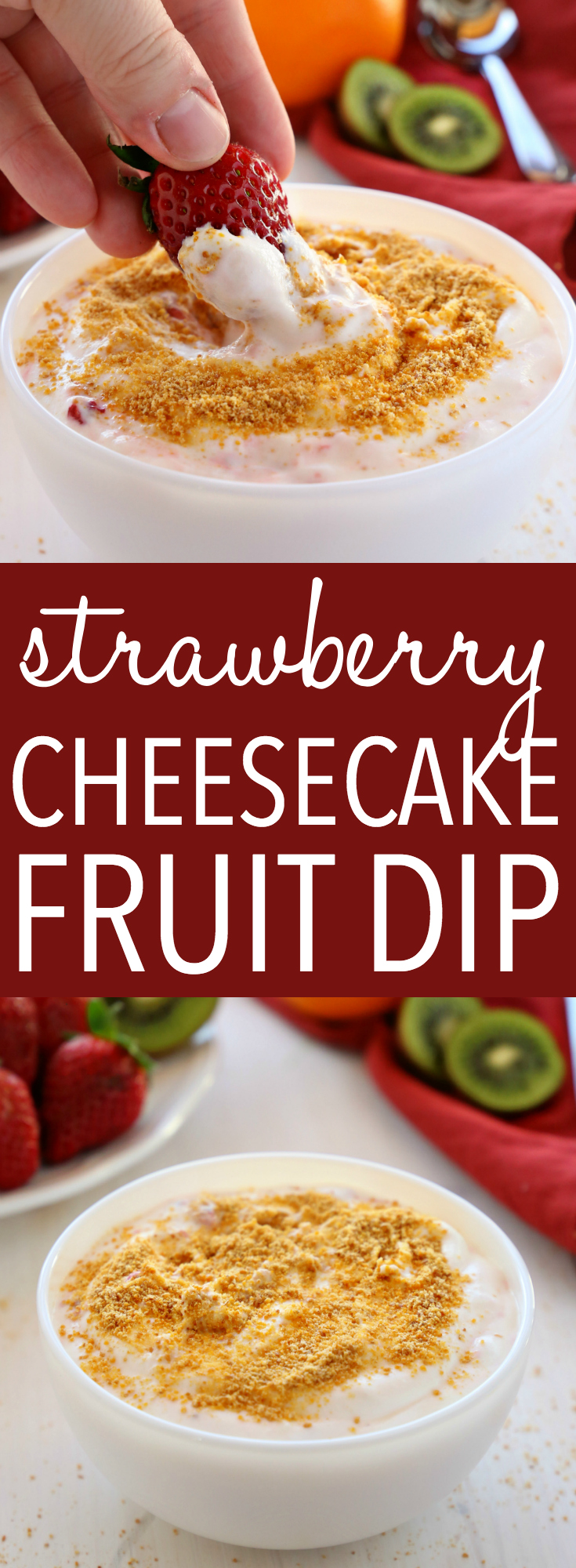 This Strawberry Cheesecake Fruit Dip is the perfect low fat summer treat! It's easy to make with only a few simple ingredients and it's a crowd-pleaser for barbecues and parties! Recipe from thebusybaker.ca! #fruitdip #strawberrycheesecake #strawberrycheesecakefruitdip #summerdessert #lowfatdessert #easydessert via @busybakerblog