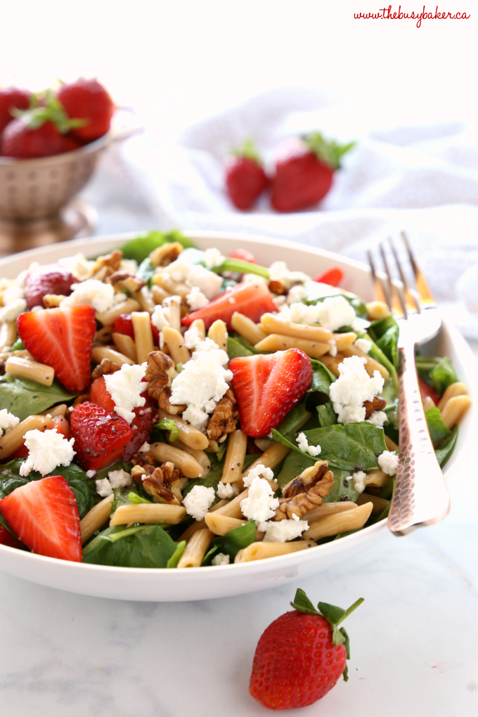 Strawberry Spinach Pasta Salad with Poppy Seed Dressing with goat cheese and walnuts