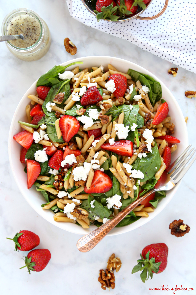 Strawberry Spinach Pasta Salad with Poppy Seed Dressing in a jar