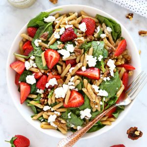Strawberry Spinach Pasta Salad with Poppy Seed Dressing