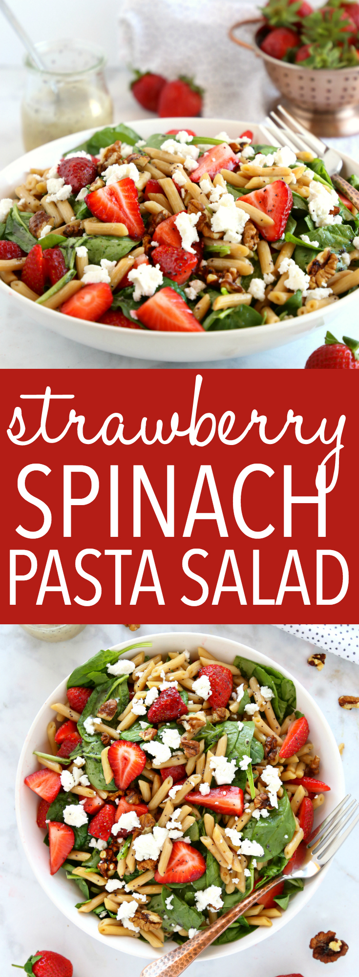 This Strawberry Spinach Pasta Salad with Poppy Seed Dressing is the perfect summer salad recipe featuring delicious pasta, in-season fruits and veggies, nuts, goat cheese and a healthy Poppy Seed Dressing! Recipe from thebusybaker.ca! #pastasalad #summersalad #strawberryspinachsalad #strawberryrecipe via @busybakerblog