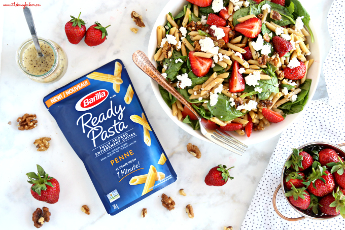 Strawberry Spinach Pasta Salad with Poppy Seed Dressing in white bowl