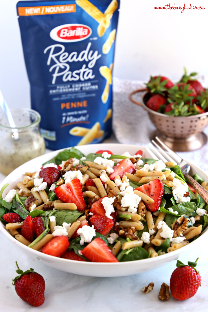 Strawberry Spinach Pasta Salad with Poppy Seed Dressing with strawberries and Barilla pasta