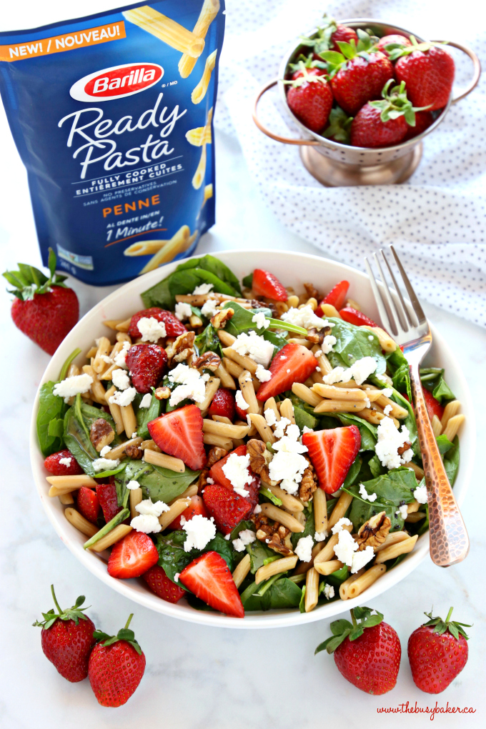 Strawberry Spinach Pasta Salad with strawberries and goat cheese