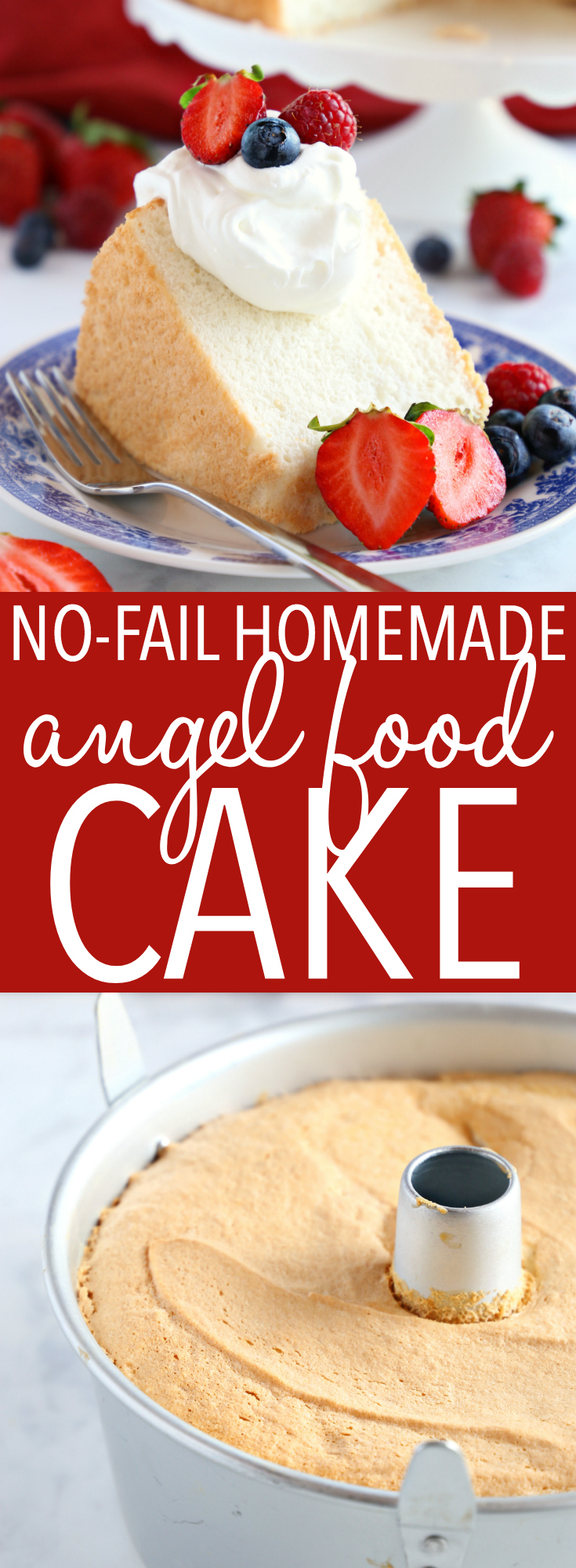 This No Fail Homemade Angel Food Cake is the best homemade angel food cake recipe that's tender and fluffy, and easy to make with my pro tips! Better than a box mix! Recipe from thebusybaker.ca! #angelfoodcake #homemadeangelfoodcake #bestangelfoodcake #easycakerecipe #besteverangelfoodcake #homemadecake via @busybakerblog