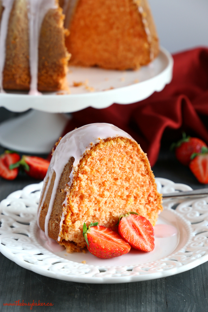 Best Ever Strawberry Pudding Cake tender and moist with fresh strawberries