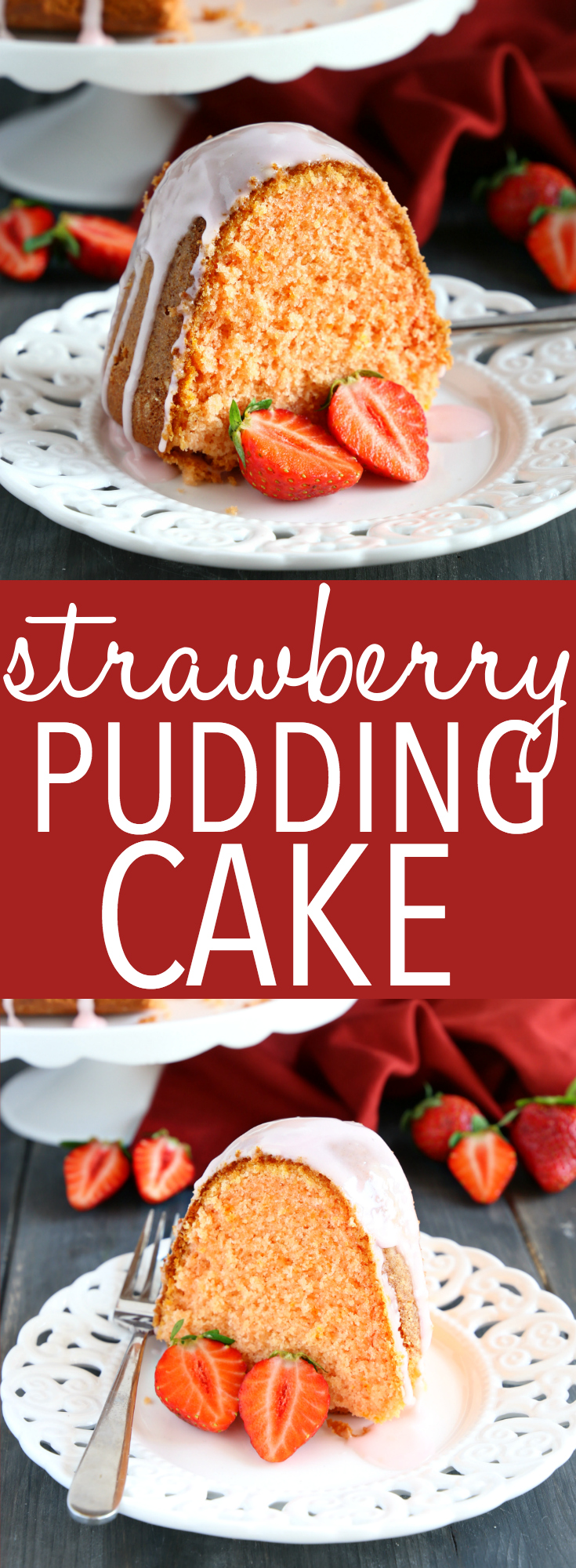 This Best Ever Strawberry Pudding Cake is the perfect summer cake recipe - it's ultra moist and tender with a sweet strawberry glaze! Recipe from thebusybaker.ca! #strawberrypuddingcake #easycake #strawberrycake #easystrawberrydessert #summerdessert #easysummerdessert #puddingcake #easypuddingcake #strawberry #summerstrawberry via @busybakerblog