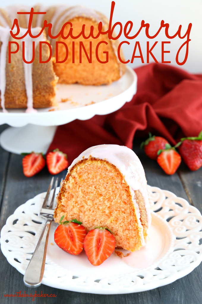 Best Ever Strawberry Pudding Cake with sweet strawberry glaze