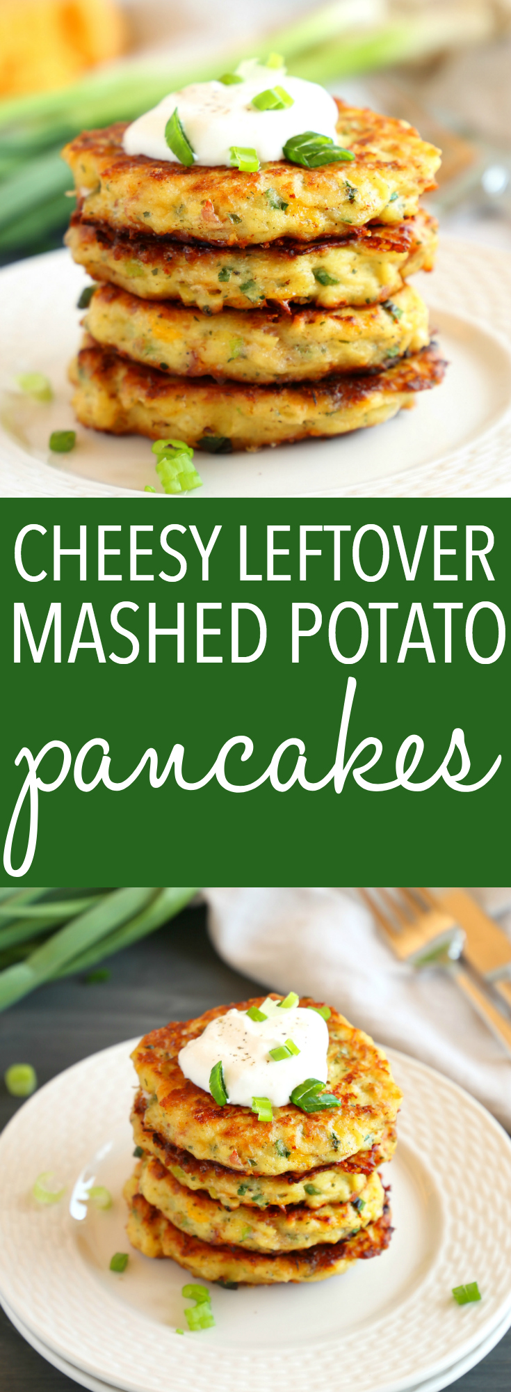 These Cheesy Leftover Mashed Potato Pancakes are the perfect easy meal or snack made with leftover mashed potatoes, cheese, ham, and all the fixings you love! Recipe from thebusybaker.ca! #potatopancakes #leftoverpotatoes #mashedpotatopancakes #leftoverpotatopancakes #whattomakewithleftovers #easymealidea #easydinner #simplemeal #glutenfree #glutenfreemeal #easyrecipe