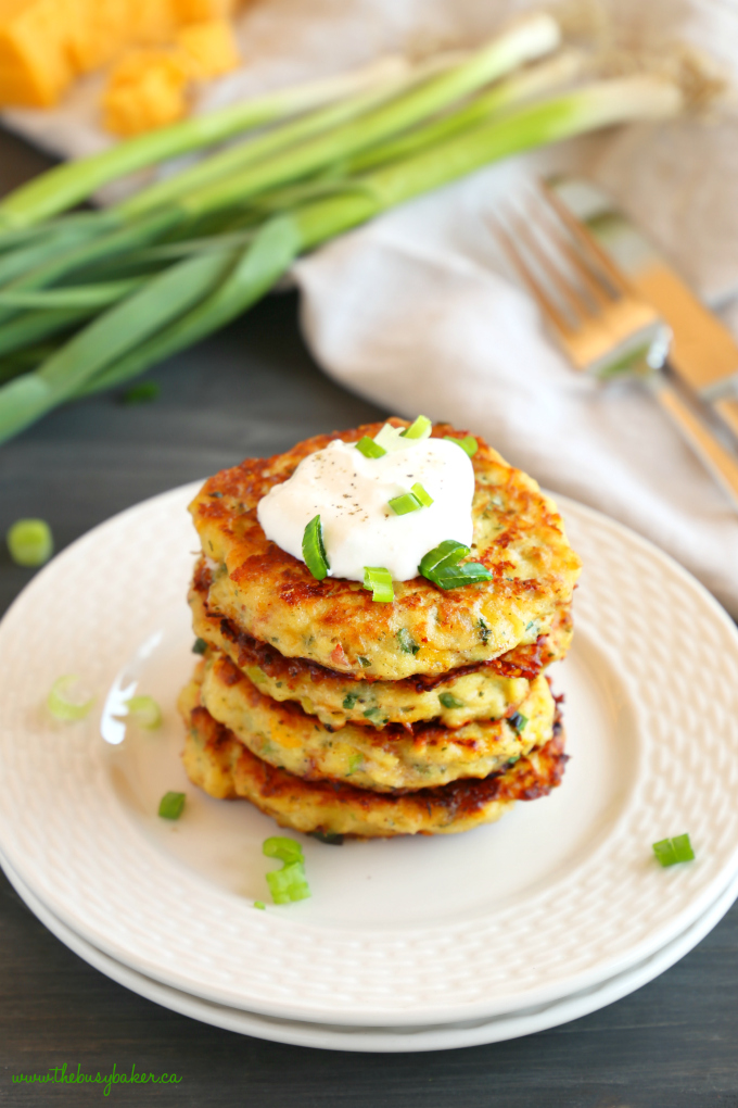 Cheesy Leftover Mashed Potato Pancakes with green onions and sour cream and cheese