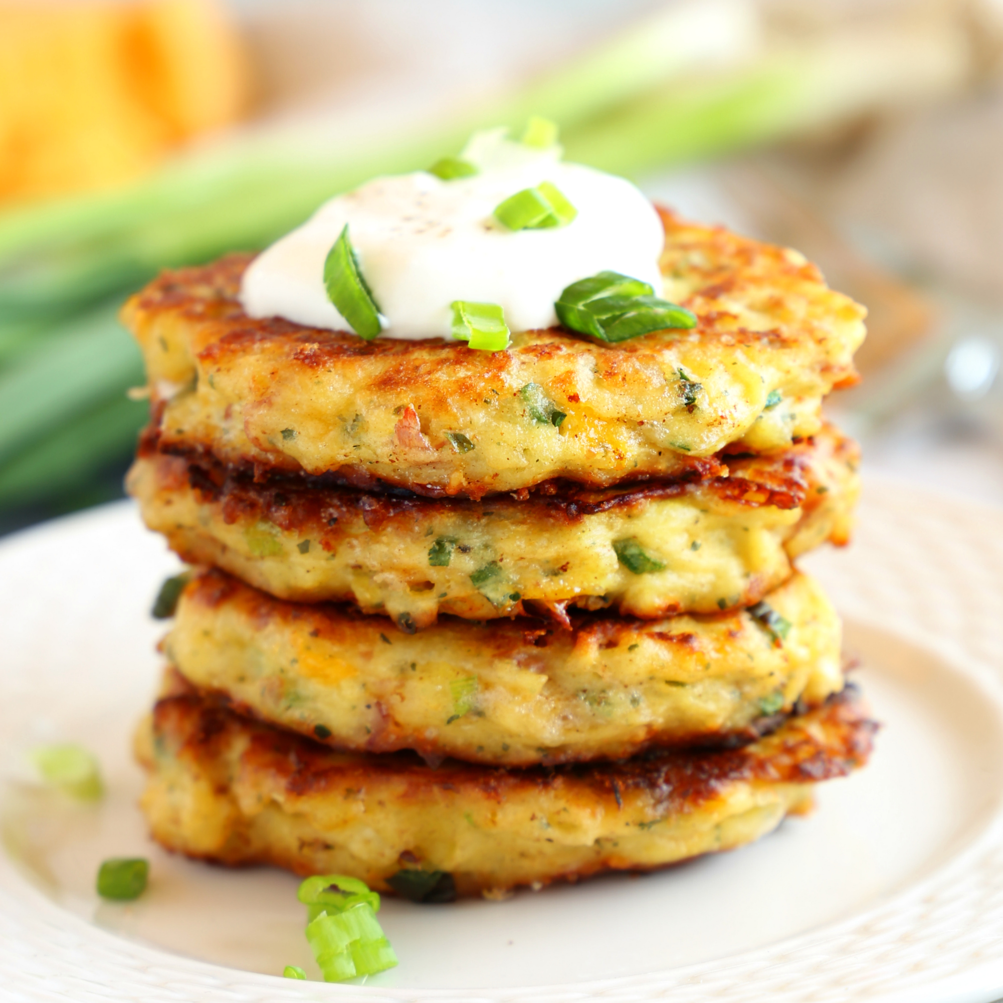 Cheesy Leftover Mashed Potato Pancakes {Easy Recipe