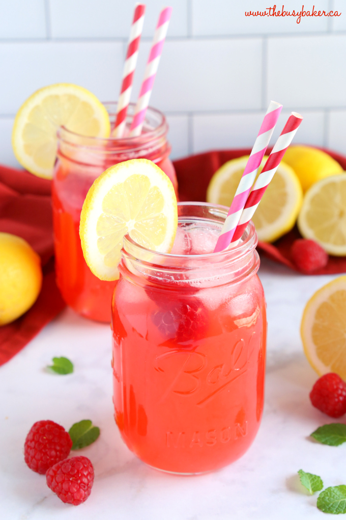 Easy Healthy Raspberry Lemonade with fresh raspberries and mint