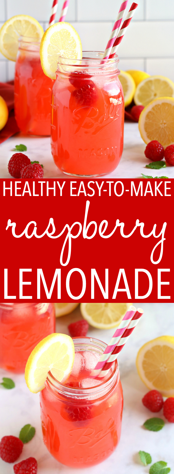 This Easy Healthy Raspberry Lemonade is the perfect summer refreshment without all those empty calories. Made with fresh fruit and NO refined sugar! #healthylemonade #raspberrylemonade #lemonadenorefinedsugar #easylemonaderecipe #healthysummerdrink #healthyraspberryrecipe #healthyraspberrylemonade #easyblenderlemonade #lemonadehoney