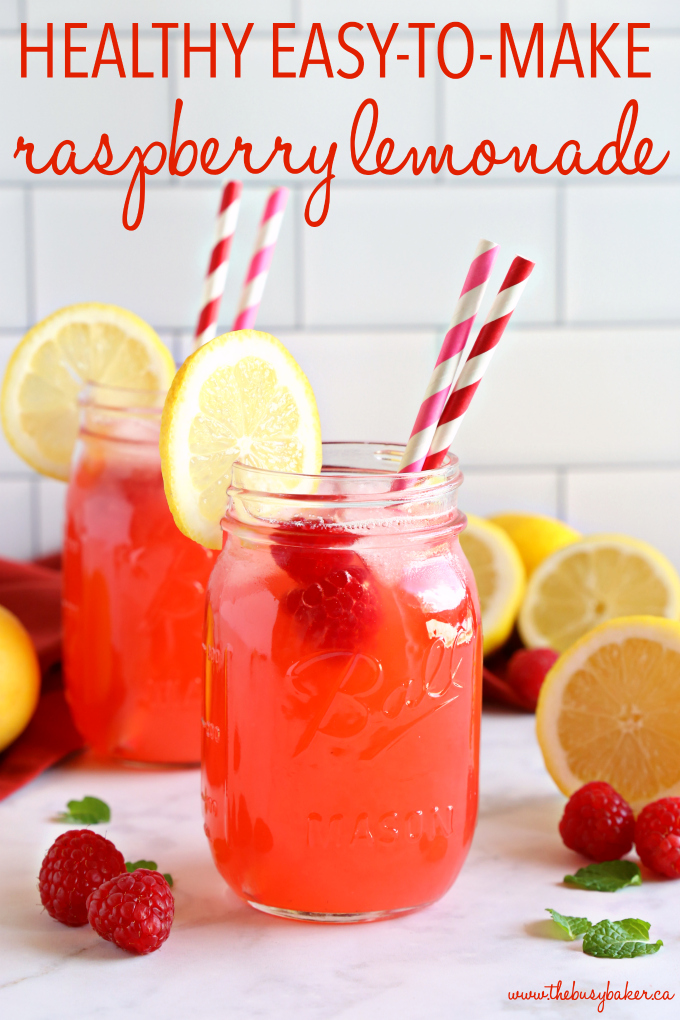 Easy Healthy Raspberry Lemonade in mason jar with paper straws