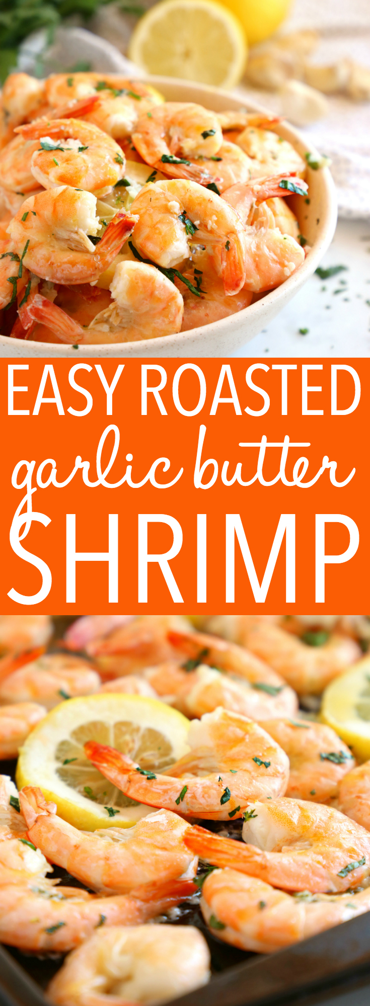 These Easy Roasted Garlic Butter Shrimp make a great main dish for seafood lovers! They're easy to make and bursting with delicious garlic flavour! Recipe from thebusybaker.ca! #shrimp #roasted #ovenroasted #garlic #garlicshrimp #seafoodrecipe #easyshrimp #easymealidea #familymeal #30minutemeal #onepot #onepan via @busybakerblog