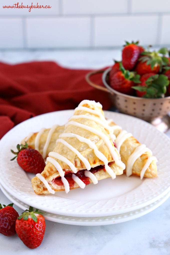 Easy Strawberry Hand Pies with sweet glaze and fresh strawberries
