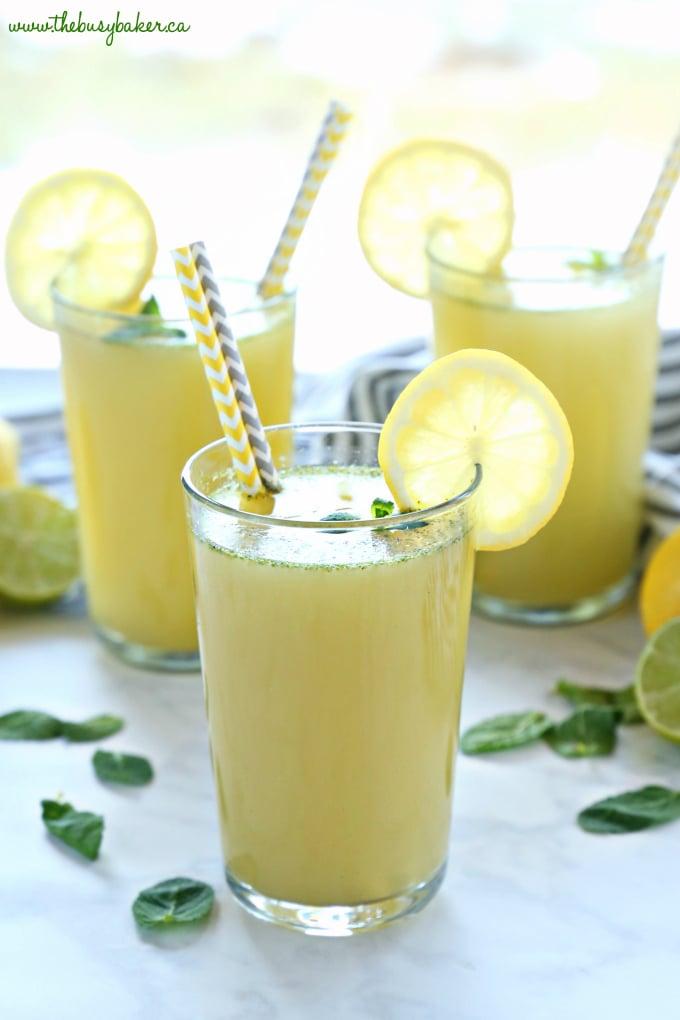 Healthy Sparkling Mojito Lemonade in summer