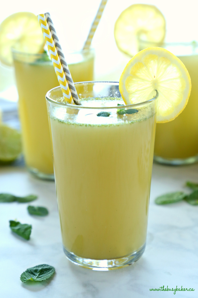 Healthy Sparkling Mojito Lemonade in glass with paper straws and lemon wedge