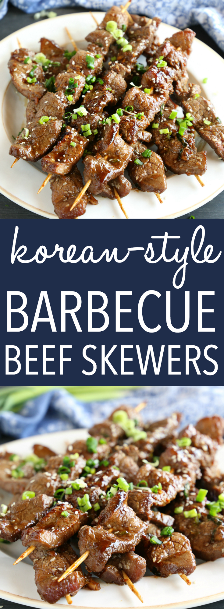 These Best Ever Korean Barbecue Beef Skewers are made with a super simple marinade and grilled to perfection with that classic Korean Barbecue-inspired flavour!  Recipe from thebusybaker.ca! #koreanbbq #koreanbarbecue #easykoreanbarbecue #besteverkoreanbarbecue #besteverkoreanbeef #koreanbeef #easykoreanbeef