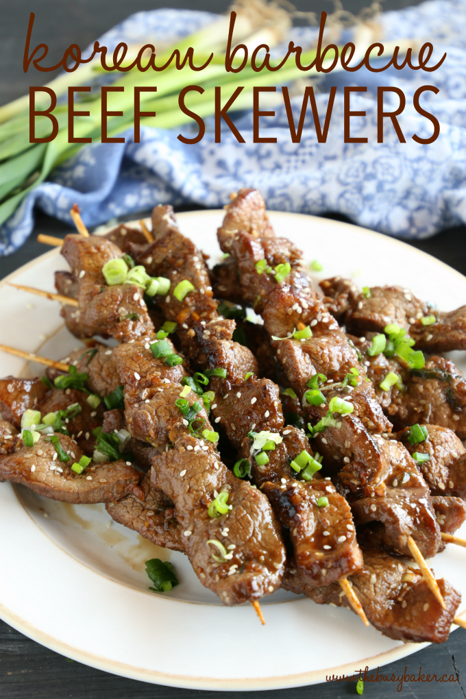 Best Ever Korean Barbecue Beef Skewers with text