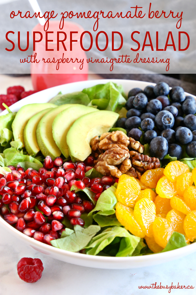 Orange Berry Pomegranate Superfood Salad with raspberry vinaigrette salad dressing