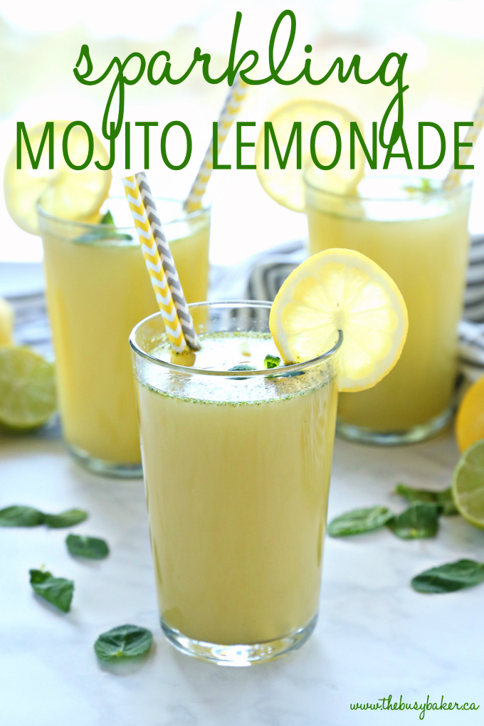 Healthy Sparkling Mojito Lemonade {Non-Alcoholic Cocktail