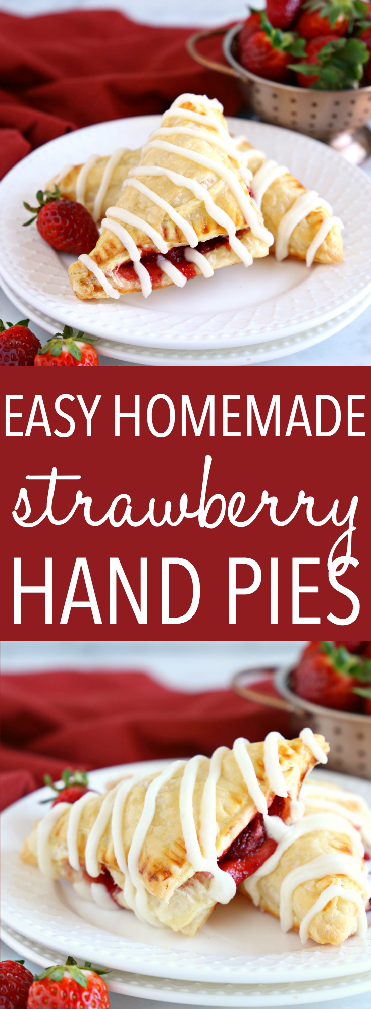 These Easy Strawberry Hand Pies are the perfect homemade pastry treat that's great for dessert, brunch, or a snack. They're bursting with fresh strawberries, made with frozen puff pastry and the best sweet glaze! Recipe from thebusybaker.ca! #toasterstrudelrecipe #strawberrydessert #brunch #handpies #homemadepastry #strawberrydanish #strawberrypastry #beststrawberrypastry #strawberryseason via @busybakerblog