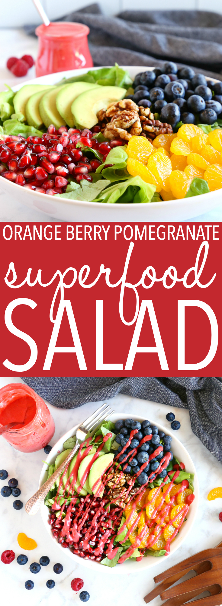 This Orange Berry Pomegranate Superfood Salad is the perfect healthy summer salad made with fresh ingredients and an easy homemade raspberry vinaigrette dressing! #superfood #superfoodsalad #fruitsalad #healthysalad #healthysummersalad #fruitsalad #cleaneating #eatclean #health #healthyrecipe via @busybakerblog