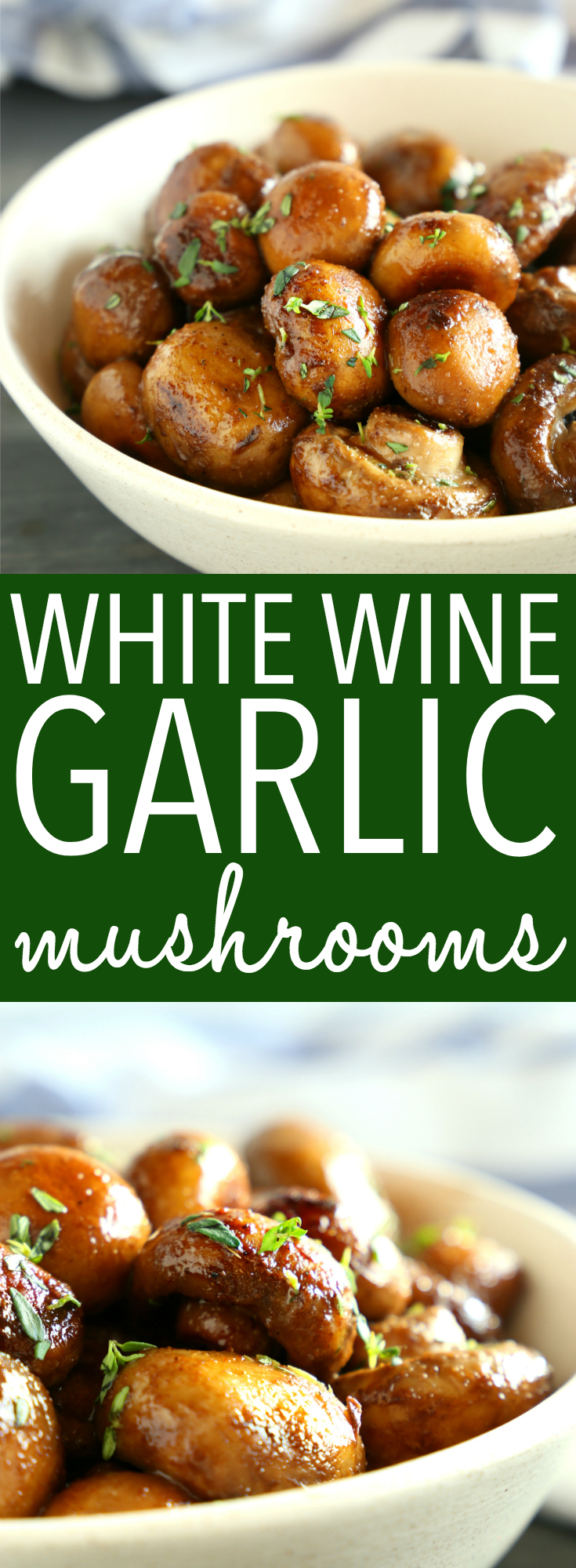 These White Wine and Garlic Mushrooms make the perfect side dish made with only 5 ingredients! They're delicious with grilled meats and veggies! Ready in 15 minutes or less! #easymushroomrecipe #grilledmushrooms #vegetariansidedish #vegansidedish #whitewinegarlic #garlicmushrooms #roastedmushrooms #mushroomssidedish #easysidedish via @busybakerblog