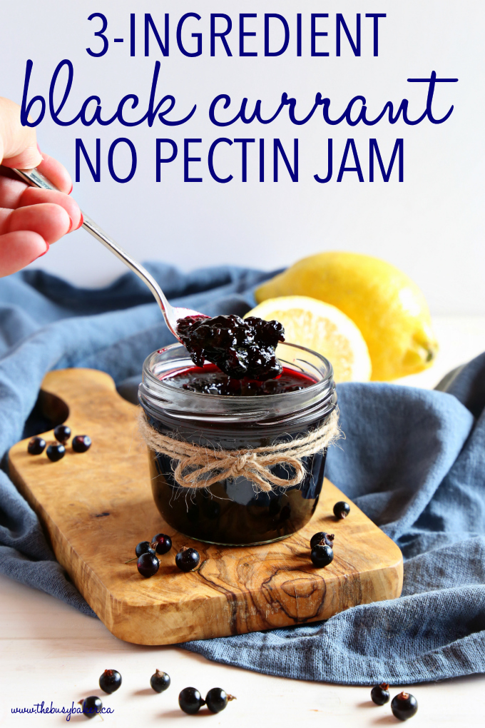Best Ever Black Currant Jam on spoon with blue kitchen towel