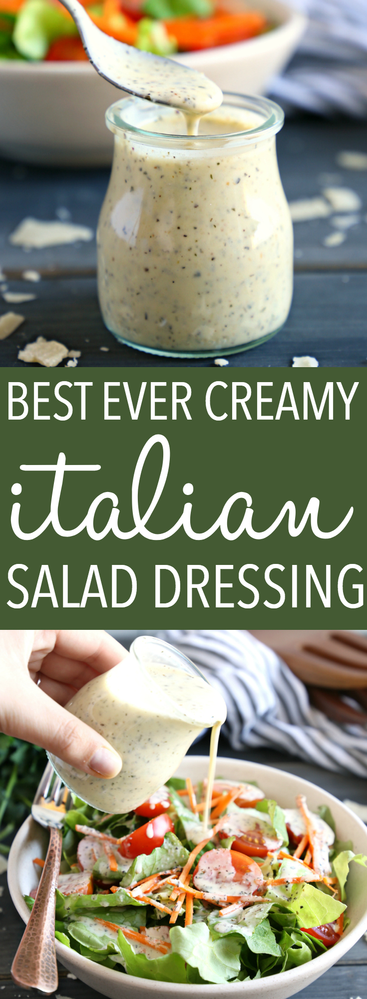This Classic Creamy Italian Salad Dressing recipe is one for the books! It's packed with delicious herbs and makes the perfect creamy addition to any garden salad! And it's SO easy to make and healthy too! Recipe from thebusybaker.ca! #saladdressing #salad #easyrecipe #italian #fresh #homemade #masonjar #blender #dressing #dip #spread #condiment #herbs #parmesan #vegetarian #healthy #cleaneating via @busybakerblog