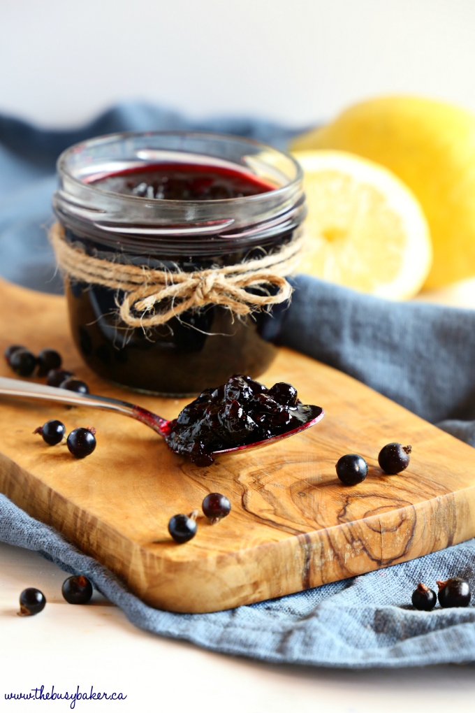 Best Ever Black Currant Jam on spoon with black currants