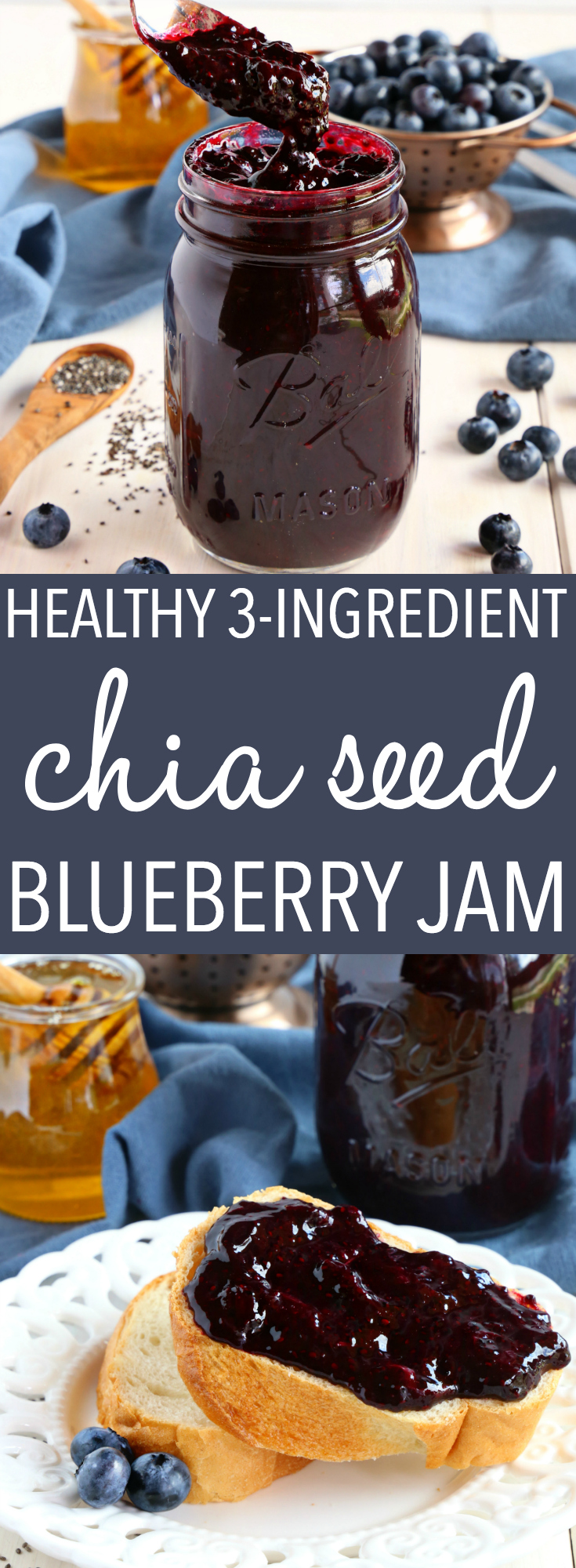 This Healthy 3-Ingredient Chia Seed Blueberry Jam is a great healthy alternative to conventional jam! It's made with 3 healthy, natural, whole-food ingredients and it's quick and easy to make! Recipe from thebusybaker.ca! #chiaseedjam #chiaseed #blueberry #jam #homemade #easyrecipe #recipevideo #canning #preserving via @busybakerblog