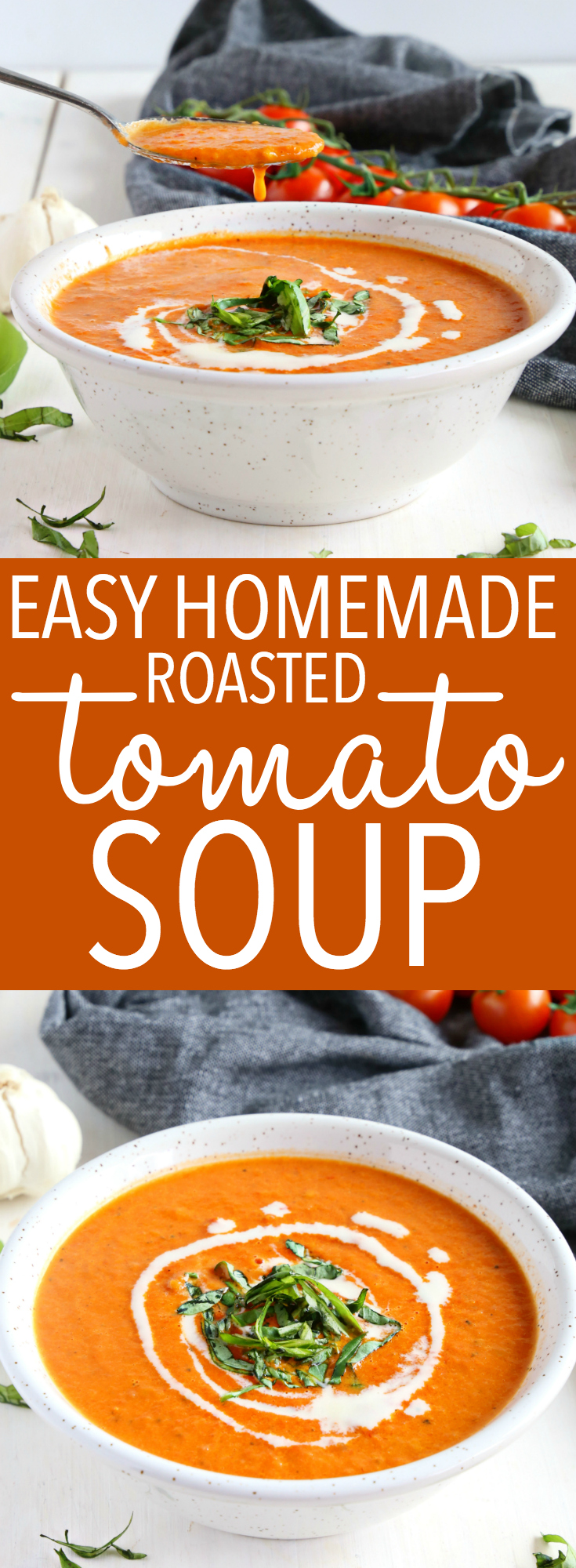 This Easy Homemade Roasted Tomato Soup is the perfect healthy, low-fat soup that's easy to make and so creamy! Make it vegan and dairy-free! Recipe from thebusybaker.ca! #tomatosoup #easyrecipe #homemade #tomato #soup #roasted #vegan #dairyfree #healthy #fall #harvest #canning #preserving #gardening via @busybakerblog